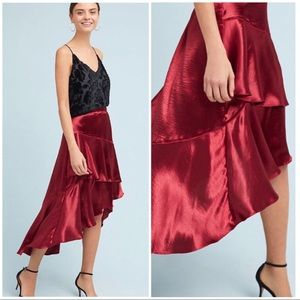 Moulinette Soeurs Tiered-Satin Skirt NWT XL